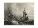 Small Ships at Sea II Premium Giclee Print