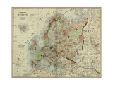 Small Antique Map of Europe Prints by Alvin Johnson