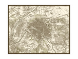 Sepia Map of Paris Premium Giclee Print