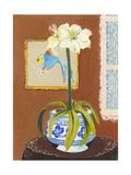 Poisson et pot de fleur en porcelaine Reproduction procédé giclée Premium