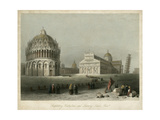 Baptistry, Cathedral &Leaning Tower Giclee Print by W.H. Bartlett