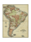 Small Antique Map of South America Premium Giclee Print by Alvin Johnson