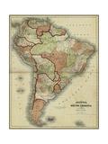 Small Mapa Antigua de América del Sur Arte por Alvin Johnson
