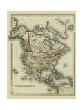 Small Antique Map of North America Posters by Alvin Johnson
