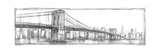 Brooklyn Bridge Sketch Stretched Canvas Print by Ethan Harper
