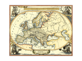 Nautical Map of Europe Art by  Vision Studio