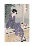 Mujer Sentada En Una Veranda, Ca. 1798 Gicléetryck av Kitagawa Utamaro