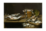 Still Life with Fish, Oysters and a Cat Giclee Print by Alexander Adriaenssen