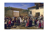 Yard with Horses at Former Plaza De Toros in Madrid Giclee Print by Manuel Castellano