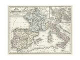 Mitchell's Map of France, Spain and Italy Planscher