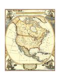 Nautische Karte von Nordamerika Kunstdruck von  Vision Studio