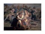 The Kermesse, Detail of Peasants Dancing, Ca. 1635-1638 Giclee Print by Peter Paul Rubens