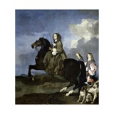 Christine of Sweden on Horseback, 1653-1654 Giclee Print by Sebastien Bourdon