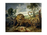 A Lion and Three Wolves Giclee Print by Paul de Vos