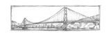 Golden Gate Bridge Sketch Stretched Canvas Print by Ethan Harper