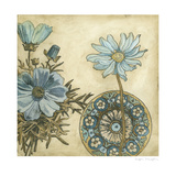Blue and Taupe Blooms I Prints by Megan Meagher