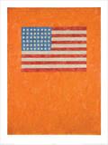 Flag on Orange Field Kunstdruck von Jasper Johns