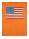 Flag on Orange Field Prints by Jasper Johns