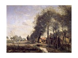 The Road of Sinle-Noble Near Douai, 1873 Giclee Print by Jean Baptiste Camille Corot