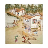 Chinese Farmers Sieving Rice Giclee Print