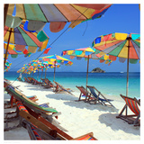 Parasols on a Tropic Isle II Prints