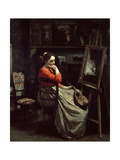 Corots Studio, Young Woman with a Mandolin, 1865 Giclee Print by Jean-Baptiste-Camille Corot