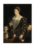 Camilla Gonzaga, Countess of San Segundo, and Her Sons, 1535-1537 Gicleetryck av Parmigianino,