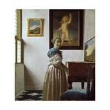 A Young Woman Standing at a Virginal. C.1670 Giclee Print by Jan Vermeer
