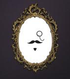 Specchio con baffo (sticker murale) Decalcomania da muro