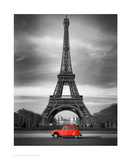 Retro Red and the Eiffel Tower Poster