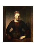 Young Girl at an Open Half-Door, 1645 Giclee Print by  Rembrandt van Rijn