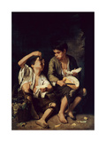 Two Children Eating a Melon and Grapes, 1650 Lámina giclée por Bartolome Esteban Murillo