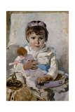 Girl with a Doll Giclee Print by Ignacio Pinazo camarlench