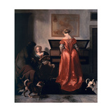 Two Women and a Man Making Music, 1675-80 Giclee Print by Jacob Ochtervelt