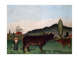 Landscape with Cattle, C. 1900 Giclee Print by Henri Rousseau
