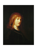 Saskia Van Uylenburgh, the Wife of the Artist, C. 1634-1640 Giclee Print by  Rembrandt van Rijn