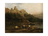 A Herd of Bulls by a River and a Castle Above, 1837 Giclee Print by Jenaro Perez Villaamil