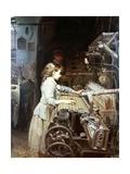 Tejedora Joven Catalana Aprende En Un Telar De Tipo Garrote, 1882 Giclee Print by Joan Planella Y Rodriguez