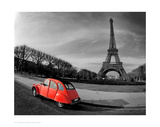 Red in Motion by the Eiffel Tower Poster
