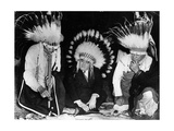 The Mayor of New York City with Two Chiefs of Native American Tribes Photographic Print
