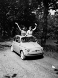 Girls on Board Fiat 500 Photographic Print