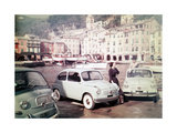 Models Posing Among the New Fiat 500 Models Photographic Print