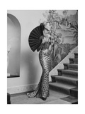 A Model Wearing an Evening Dress by the Fashion House Balmain Photographic Print