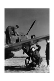 French Mechanics Overhauling a Fighter Plane Photographic Print