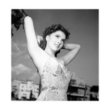 Gina Lollobrigida Posing in Swimsuit Photographic Print