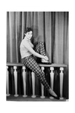 Giorgia Moll Sitting on a Parapet Photographic Print