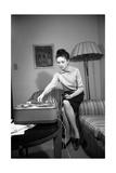 Gigliola Cinquetti with a Tape Recorder Photographic Print