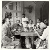 Arnoldo Mondadori To Lunch with His Wife and Some Writers Photographic Print