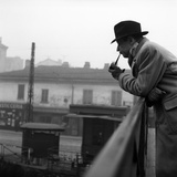 Georges Simenon Smoking the Pipe on a Bridge in Milan Photographic Print