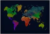 World Map Watercolor (Dark) Plakater